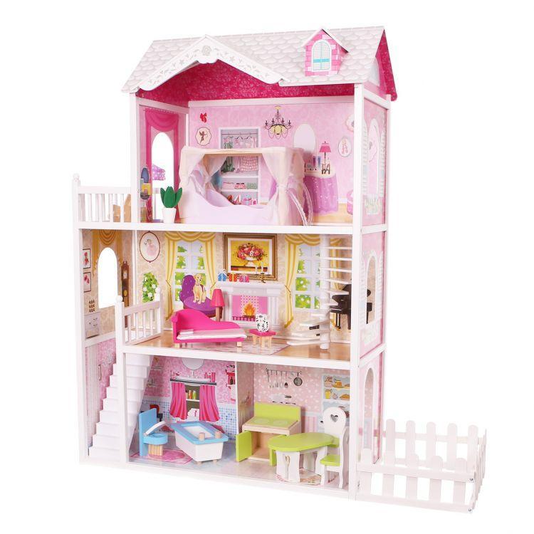 Ігровий ляльковий будиночок для барбі Ecotoys California 4107fm + тераса, 124см!