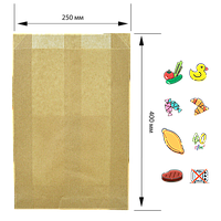 Бумажный пакет без ручек крафтовый 400х250х80мм (ВхШхГ) 40г/м² 100шт (910)