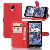 Чехол-книжка Litchie Wallet для OnePlus 3 / 3T Красный