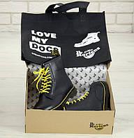 Ботинки мужские зимние на меху черные кожаные с желтыми шнурками Dr.Martens Мартинсы