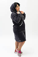 Женское велюровое платье серого цвета батальные размеры от производителя