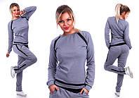 Спортивный костюм полоски № 160 батал серый