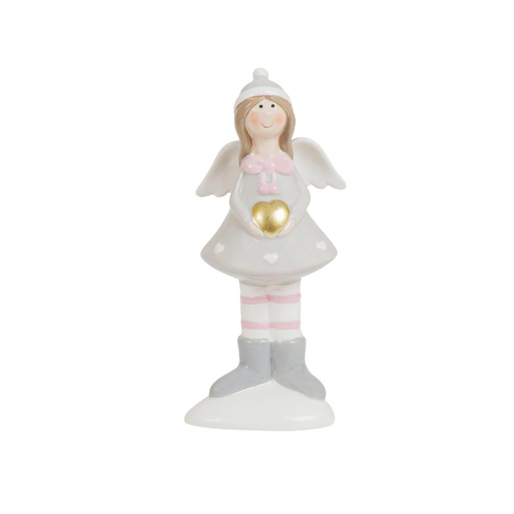 Девочка Ангел с сердцем серый 13см 107852