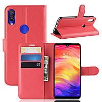 Чехол-книжка Litchie Wallet для Xiaomi Redmi Note 7 Красный