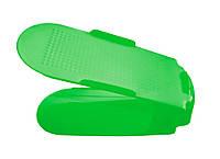 🔝 Двойная пластиковая стойка-подставка для хранения обуви - салатовая | 🎁%🚚, фото 1