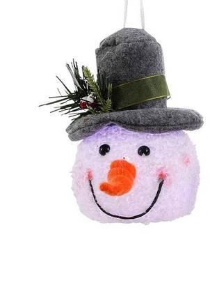 "Декоративная фигурка ""Снеговик"", 14 см., ""Luca Lighting"", серая шляпа, фото 2"