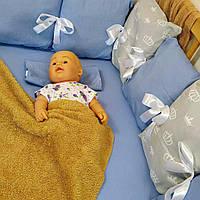 Бортики в детскую кровать с простынью на резинке на 3 стороны   Бортики в дитяче ліжко з простирадлом
