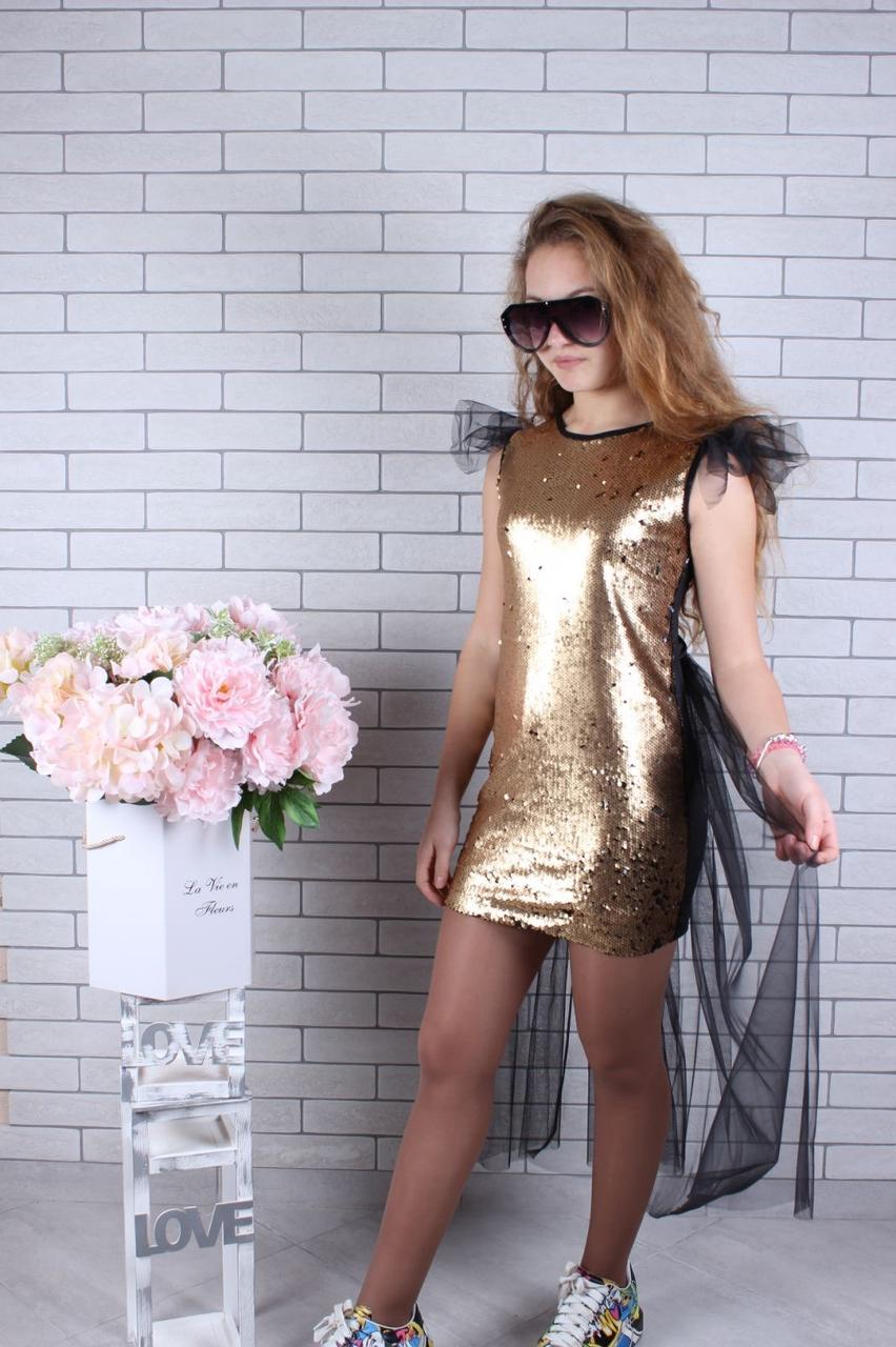 Платье нарядное для девочки с пайетками р.134-164 опт