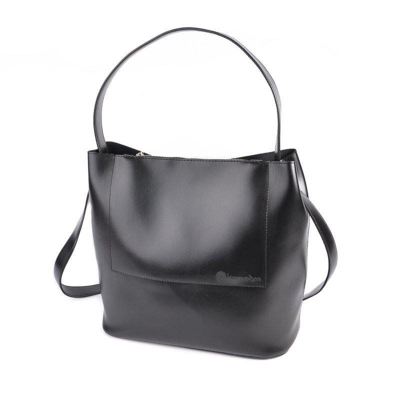 Чорна сумка М235-34 мішок з однією ручкою і ремінцем через плече
