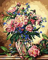 Раскраска по цифрам Ваза с пионами и колокольчиками худ Вильямс, Альберт (KH081) 40 х 50 см