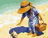 Раскраска по цифрам Ракушка на берегу моря (KH037) 40 х 50 см