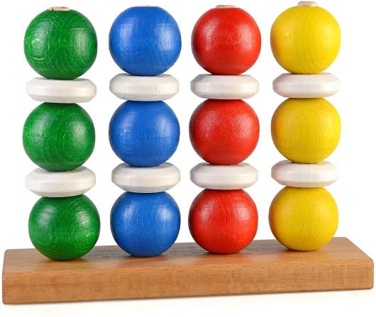Пирамидки деревянные - 4 цвета