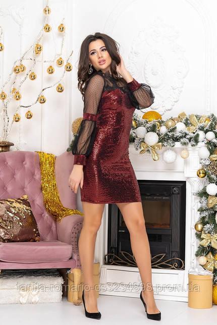 Коктейльное платье 9219 Бордо