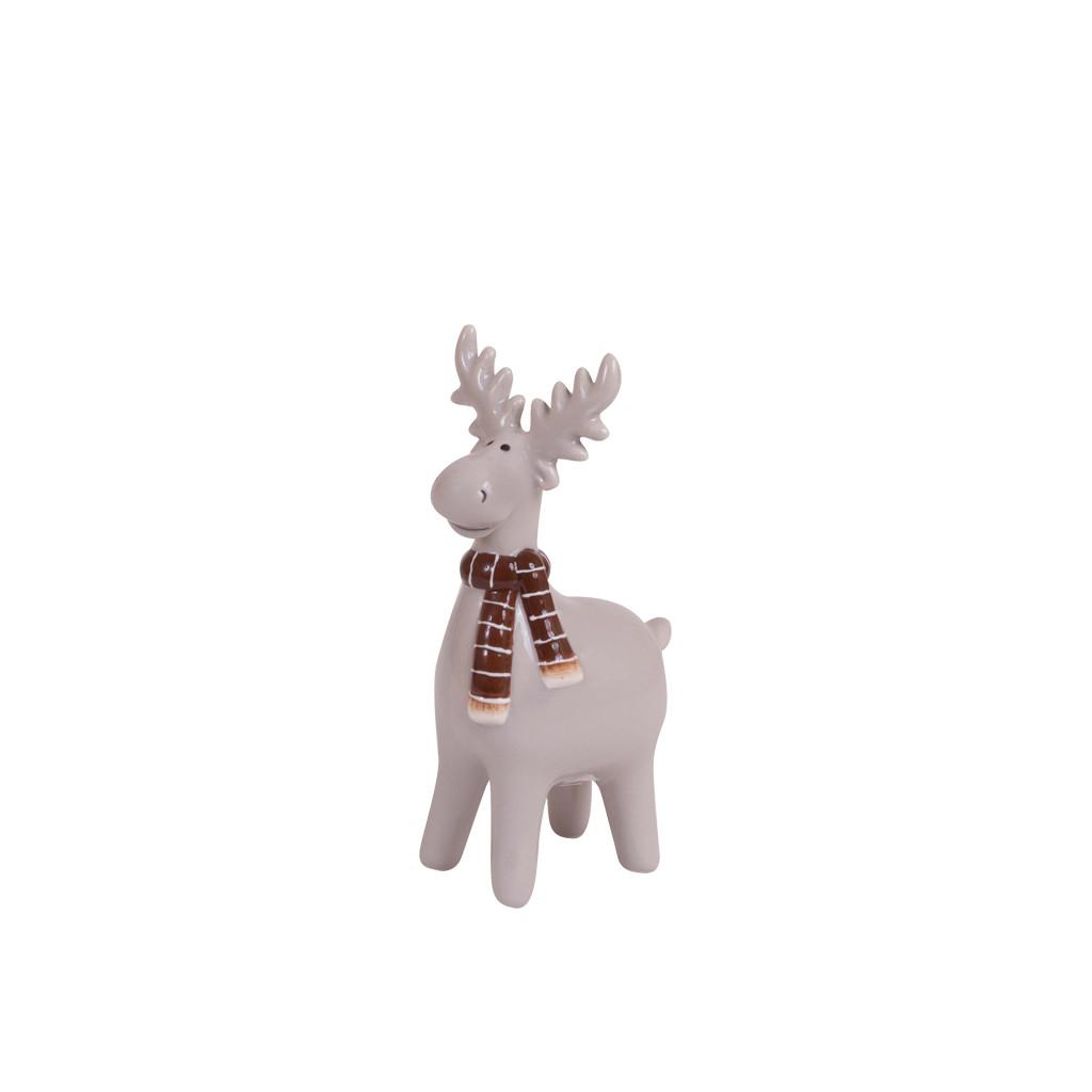 Олень с шарфиком керамика серый 12см 107810