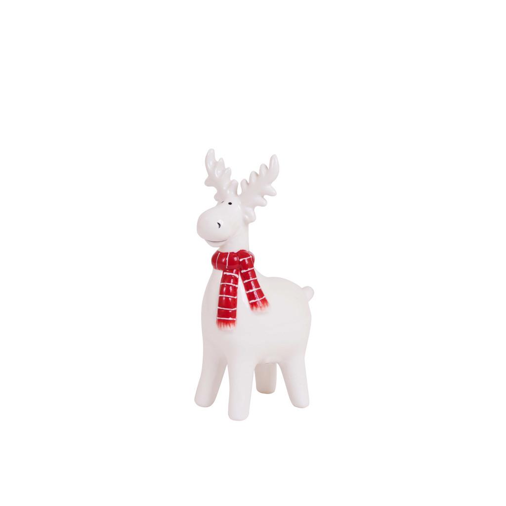 Олень с шарфиком керамика белый 12см 107809