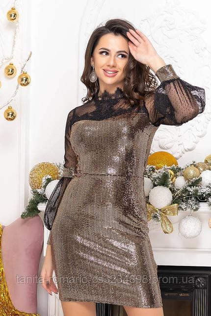 Коктейльное платье 9219 Золото