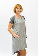 Женское спортивное платье из трикотажа серого цвета батальные размеры от производителя