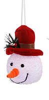 "Декоративная фигурка ""Снеговик"", 14 см., ""Luca Lighting"", красная шляпа"