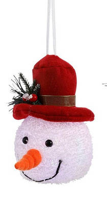"Декоративная фигурка ""Снеговик"", 14 см., ""Luca Lighting"", красная шляпа, фото 2"