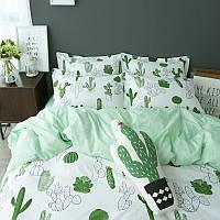 Комплект постельного белья Наша Швейка Ранфорс Green Кактус Полуторный 150 х 215 см