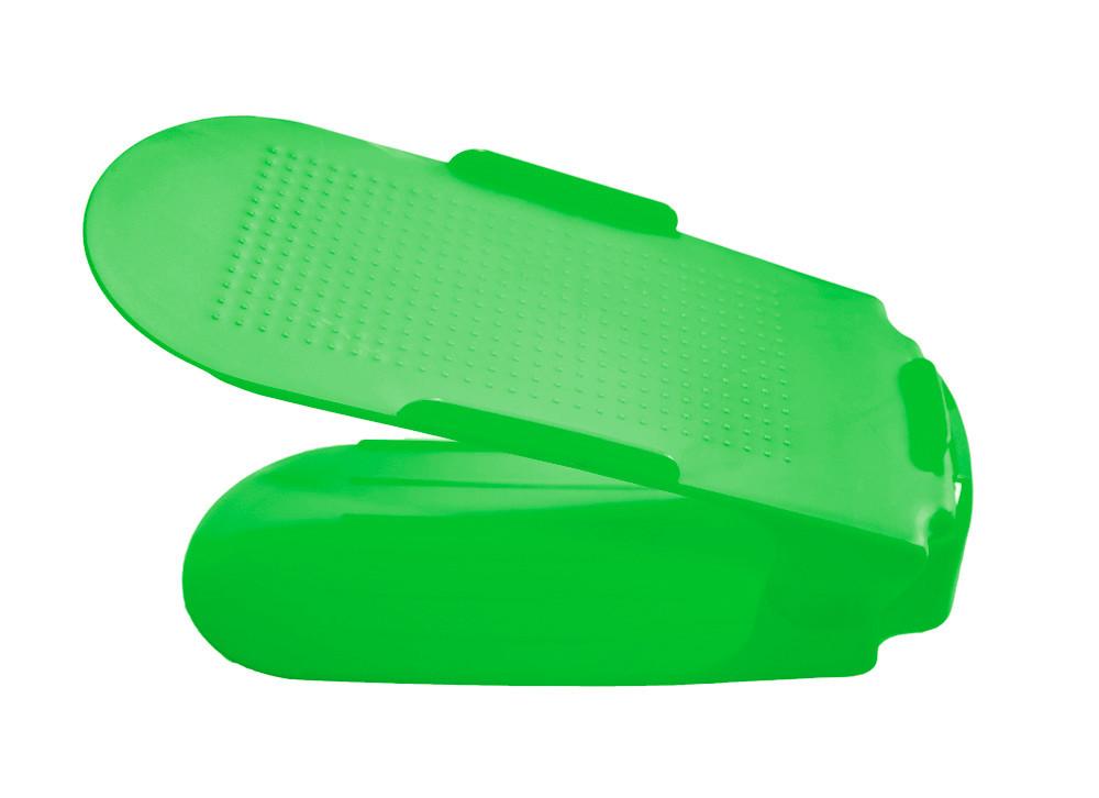 Двойная пластиковая стойка-подставка для хранения обуви - салатовая (ACC)
