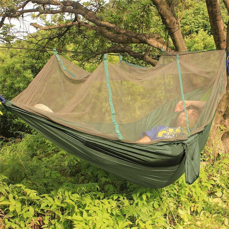 Подвесной нейлоновый туристический гамак с москитной сеткой - Хаки