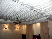 Различные виды драпировки потолка тканью
