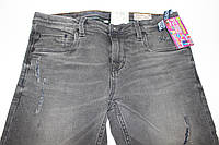 Детские подростковые джинсы демисезонные серые с регулятором резинки на талии, размер на рост 176см