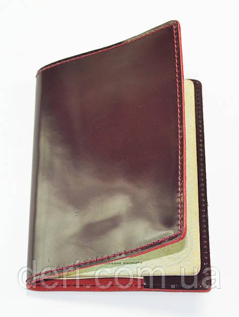 Кожаная обложка  бордовая (глянец)