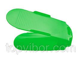 🔝 Двойная пластиковая стойка-подставка для хранения обуви - салатовая   🎁%🚚