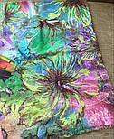 Палантин шерстяной 10226-9, павлопосадский шарф-палантин шерстяной (разреженная шерсть) с осыпкой, фото 3