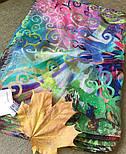 Палантин шерстяной 10226-9, павлопосадский шарф-палантин шерстяной (разреженная шерсть) с осыпкой, фото 7