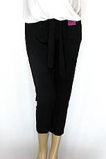 Жіночі чорні вкорочені брюки з високою талією, фото 2