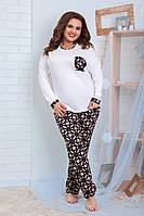 Женская тёплая трикотажная пижама, размеры 48-62, фото 1
