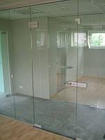Офисные стеклянные перегородки из каленного прозрачного стекла