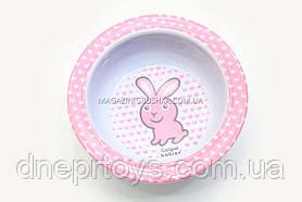 Canpol. Тарілка з меламіну на присоску (4/519b) Рожевий зайчик