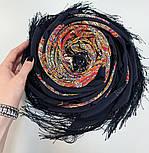 Жасмин 1176-18, павлопосадский платок (шаль, крепдешин) шелковый с шелковой бахромой, фото 8