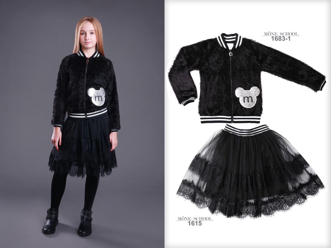 Детская куртка для девочки Верхняя одежда для девочек MONE Украина 1683-1 Черный 152, 1471,18