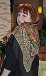 Таинственный вечер 1539-18, павлопосадский платок (шаль) из уплотненной шерсти с шелковой вязаной бахромой, фото 3