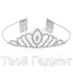 Диадема-обруч для волос металлическая с гребнем и белыми стразами, высота 3,5 см