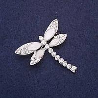 Брошь Стрекоза в стразах крылья цвет белый 37х37мм серебристый металл