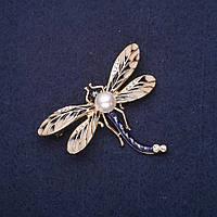 Брошь Стрекоза крылья эмаль цвет синий бежевый 50х39мм желтый металл