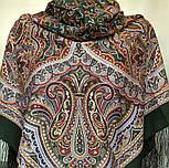 Узор дождя 1695-10, павлопосадский платок шерстяной (двуниточная шерсть) с шелковой бахромой, фото 2