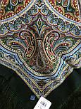 Узор дождя 1695-10, павлопосадский платок шерстяной (двуниточная шерсть) с шелковой бахромой, фото 4