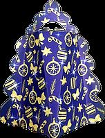 Новогодняя Упаковка для корпоративных подарков ОПТом ЯЛИНКА Синя на 450г, фото 1