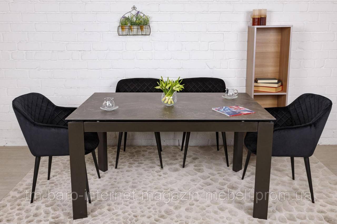 Стол обеденный OSLO (140(+60)*90*74 cm керамика) коричневый, Nicolas