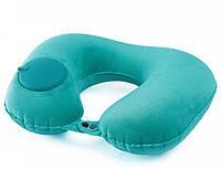 Карманная надувная подушка для путешествий SUNROZ Inflatable Pillow со встроенным насосом Бирюзовый (SUN6305)
