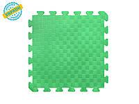 """Мягкий пол коврик-пазл """"Татами"""" 30*30*1 см Плетёнка Eva-Line зеленый для детских комнат, школ и садиков"""