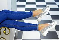 Женские серебристые туфли на низком ходу