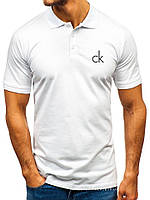Мужская футболка поло Calvin Klein (Кельвин Кляйн) белая (маленькая эмблема) хлопок